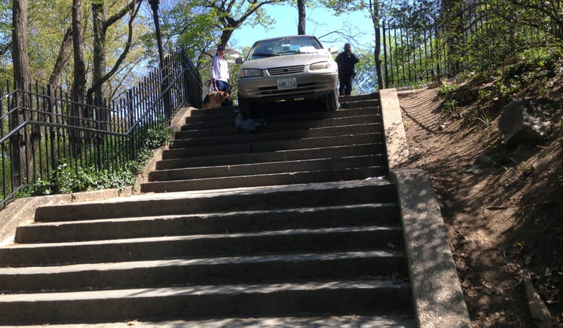 Man Trusts GPS More Than Own Eyesight And Drives Down Some Stairs