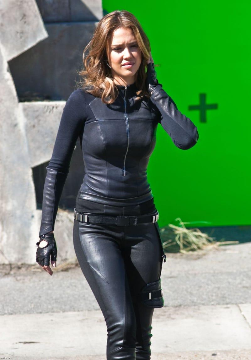 Jessica Alba's leather catsuit