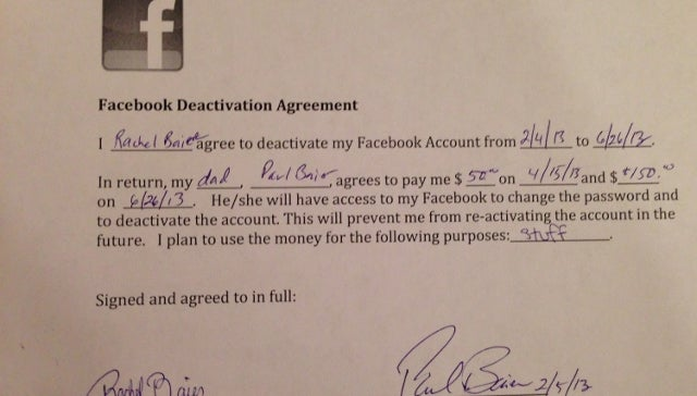Teen Signs Faustian Deal with Dad to Quit Facebook In Exchange for Cash