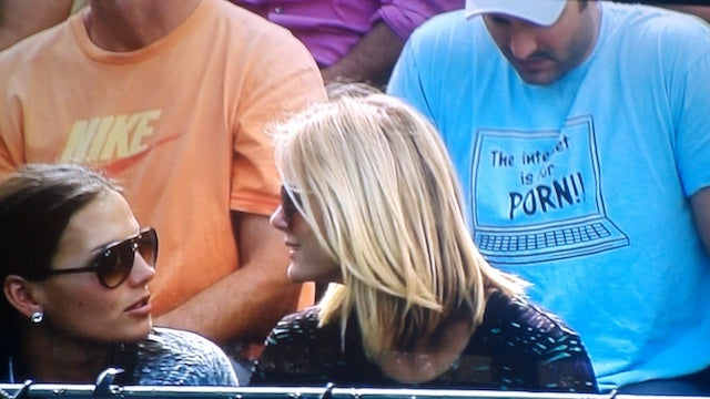 This Evening: The Guy In The Blue Shirt Behind Brooklyn Decker Would Like You To Know He Plays With Himself