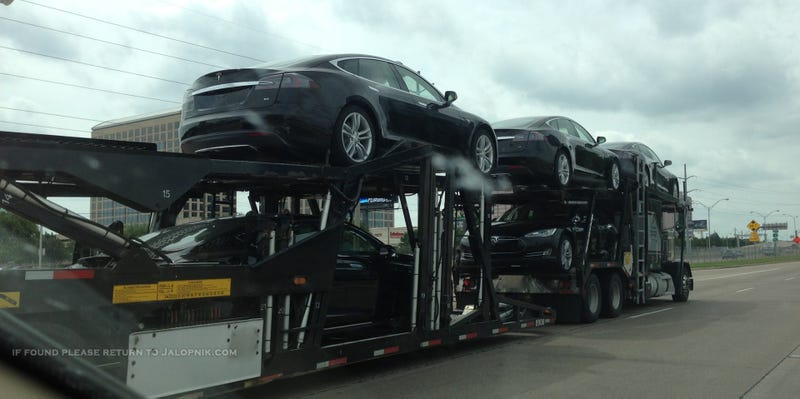 This Is What A Truck Full Of Teslas Looks Like