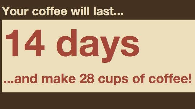"""How Long Will My Coffee Last?"" Calculates When You'll Need to Order Your Next Batch of Beans"