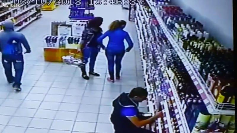 Devastating Liquor Store Shelf Collapse Caught on Camera