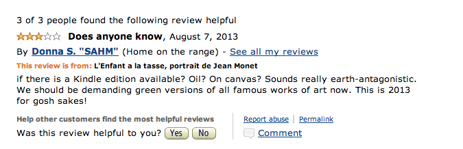 Amazon Customer Reviewers Give Four Stars to a $1.4 Million Monet