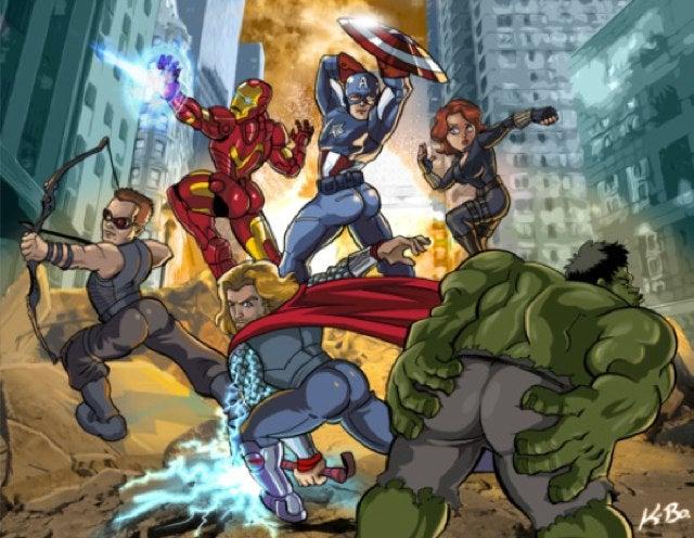 What if the male Avengers posed like Scarlett Johansson's Black Widow?