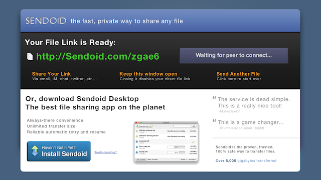 Sendoid is Like Dropbox, Bittorrent and Rapidshare Rolled Up Into One