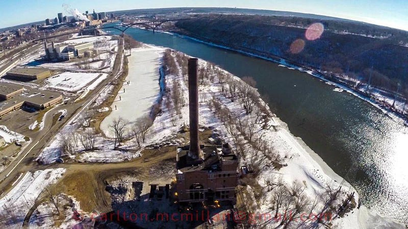 Controlled Power Plant Demolition, A Drone's View.