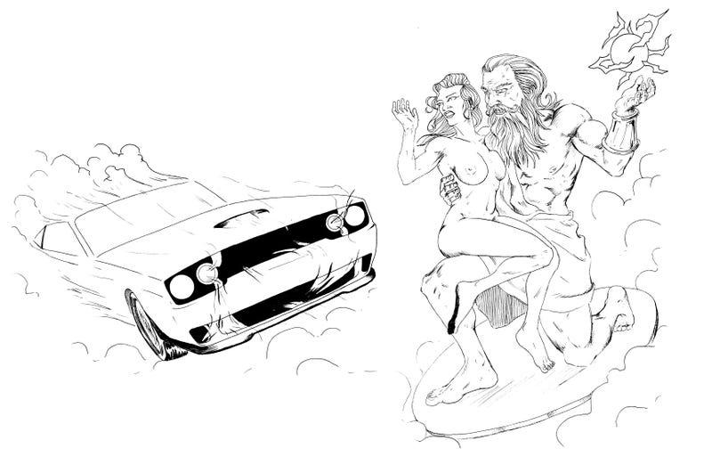 1970's Van Art Concept: Dodge Hellcat Vs. Zeus(NSFW)