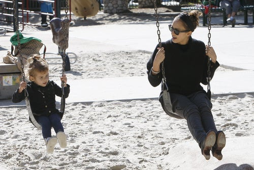 Jessica Alba Teaches Her Daughter To Be A Swinger