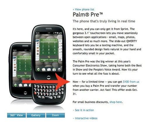 Sprint's Palm Pre Drops to $100, At Least For New Recruits (Update: Canceled!)