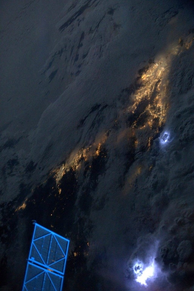 California thunderstorms from low-Earth orbit