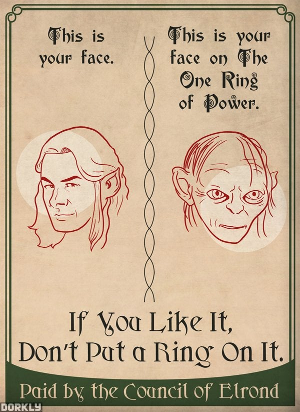 Hobbit PSA posters warn this is your brain on the ring