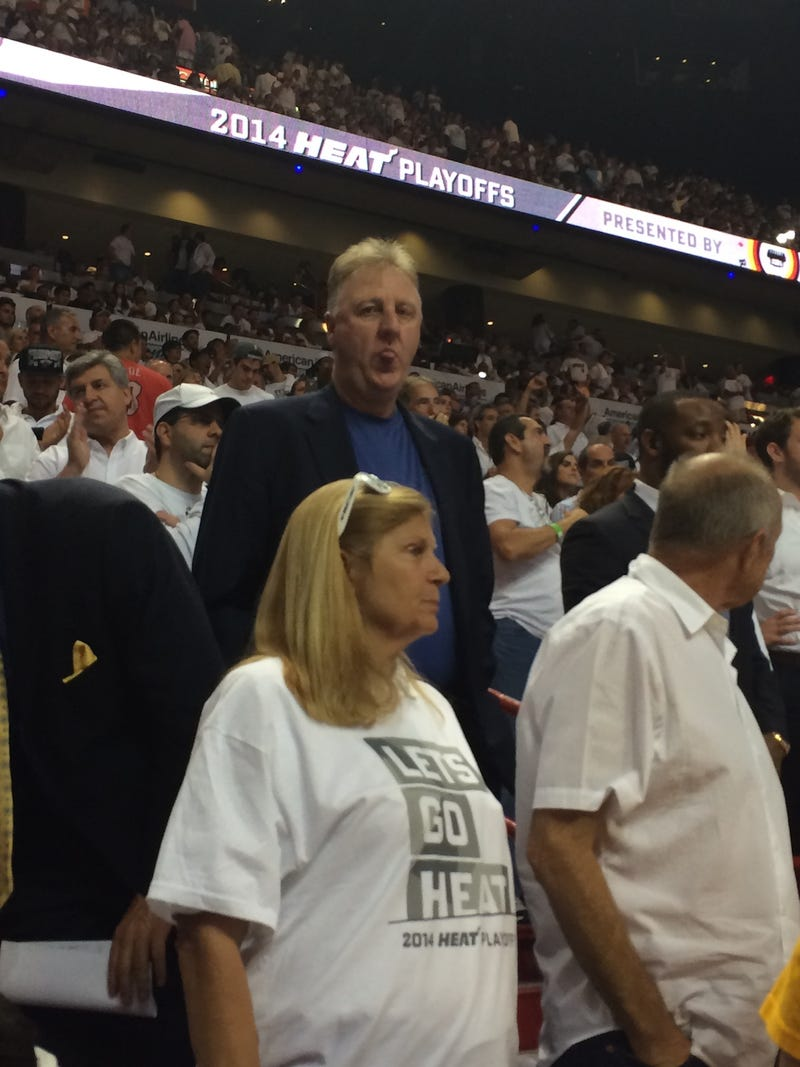 Here's Larry Bird Sticking His Tongue Out At A Miami Fan