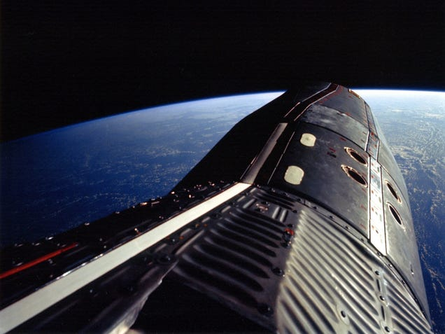Buzz Aldrin's amazing view standing on Gemini XII with the hatch open