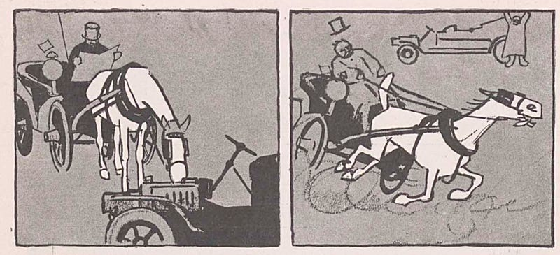 Here's An Old Cartoon About A Horse Drinking Gasoline And Exploding
