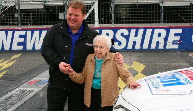 """99-year-old woman and """"die-hard"""" Nascar fan takes hot laps on Nascar track"""