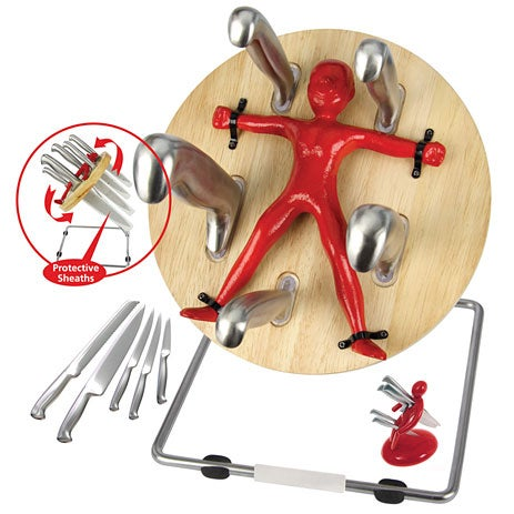 Throwzini's Knife Block Stores Cutlery on Wheel of Death