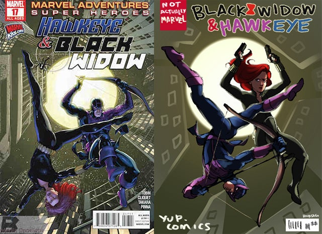 The Hawkeye Initiative redraws absurd superheroine poses with Hawkeye