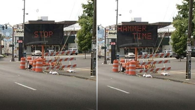 "Hacked electronic road sign warns of ""Hammertime"""