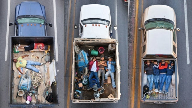 Pictures of Men Lying Down In Trucks Makes Carpooling Look Uncomfortable