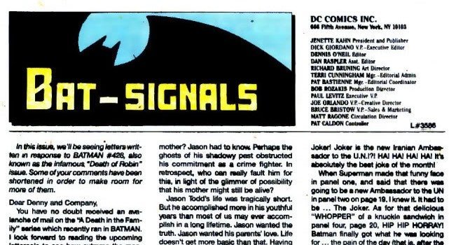 DC brings back letters to the editor