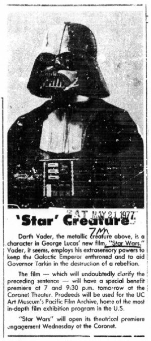 A newspaper profile of Darth Vader from 1977, when he was a nobody