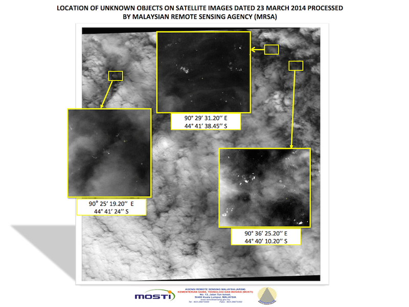 """Satellite Images Show 122 """"Potential Objects"""" From Flight 370"""