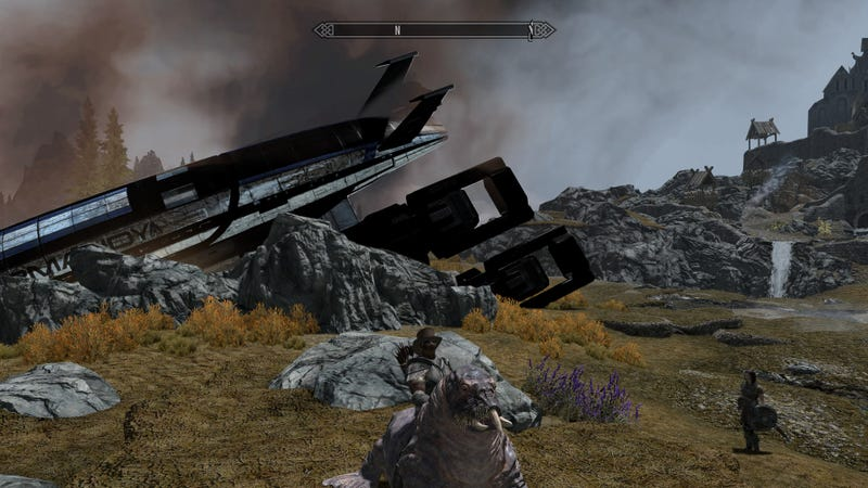 Mass Effect's Normandy Crashing Into Skyrim Might Be The Least Weird Thing In This Picture