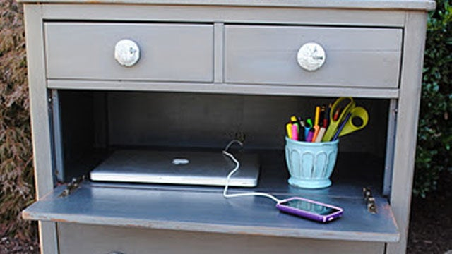 Turn a Dresser into a Compact, Laptop-Hiding Desk