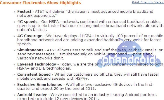 4G and Android Galore In Latest AT&T Leak [Updated]