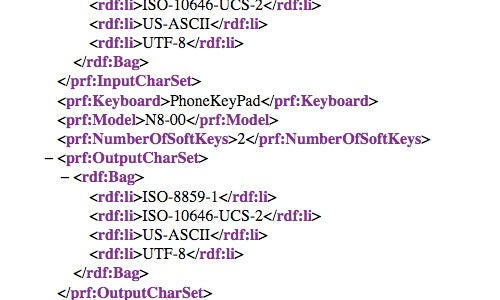 Nokia N8-00 XML Entry Details Symbian^3, nHD Display