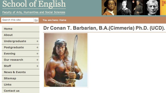 Pranksters add Conan the Barbarian to the faculty of Irish college