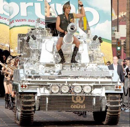 """Bruno"" Straddles Mirrored Tank For Hollywood Premiere"
