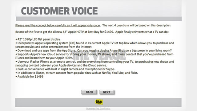 "42-Inch ""Apple HDTV"" Detailed in Best Buy Customer Survey"