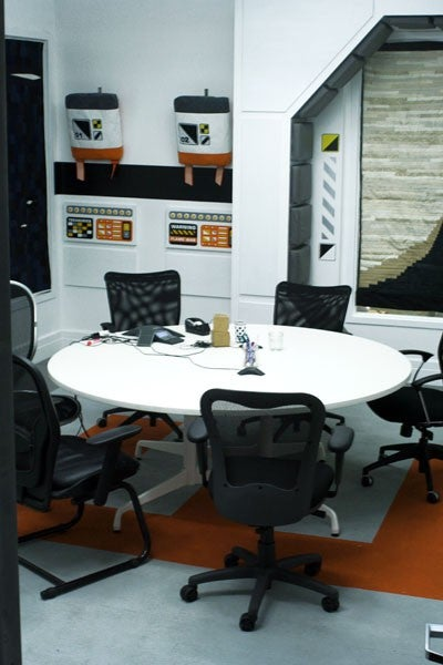 """Etsy's new """"Space Station Conference Room,"""" decorated using Etsy's own crafts"""