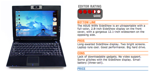 Asus W5fe SideShow Ultraportable Notebook: PC Mag Says It's So-So