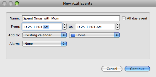 Create iCal Events in One Click with Automator