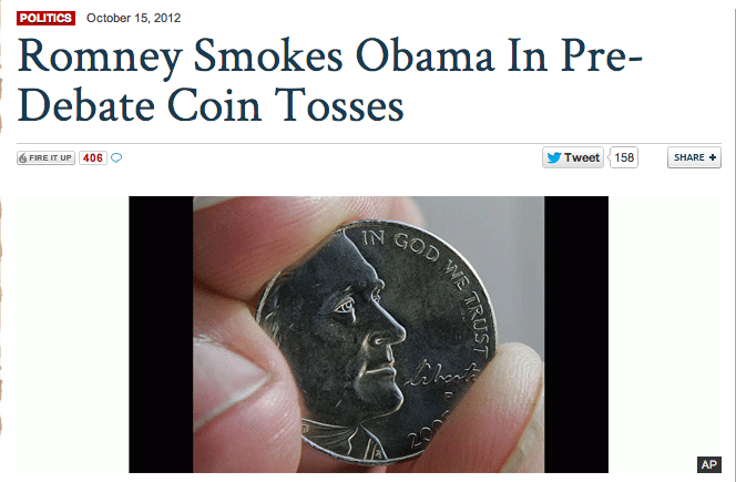 Fox Nation Says Romney 'Smoked' Obama In Coin Toss
