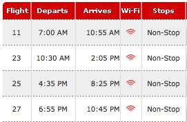 Virgin America Flight Timetables Now Have Wi-Fi Ready Status