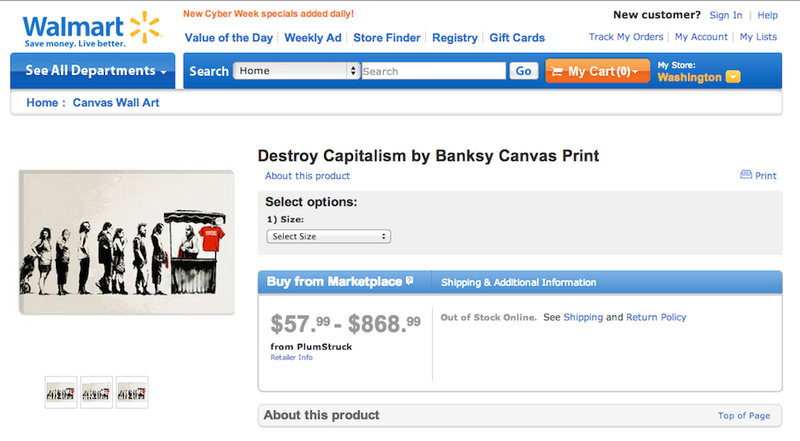 "Walmart Was Selling Knockoffs of Banksy's ""Destroy Capitalism"""