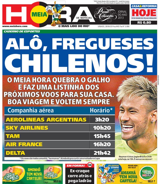 Brazilian Newspaper Front Page Features Flight Times Back To Chile
