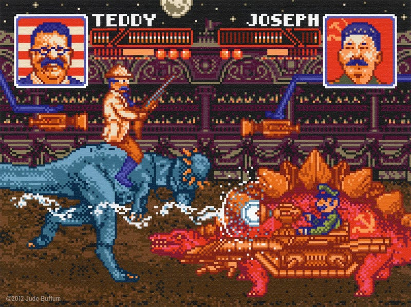 8-Bit George Washington and Adolf Hitler Fight With Cyborg Dinosaurs in This Time Travel Art Show