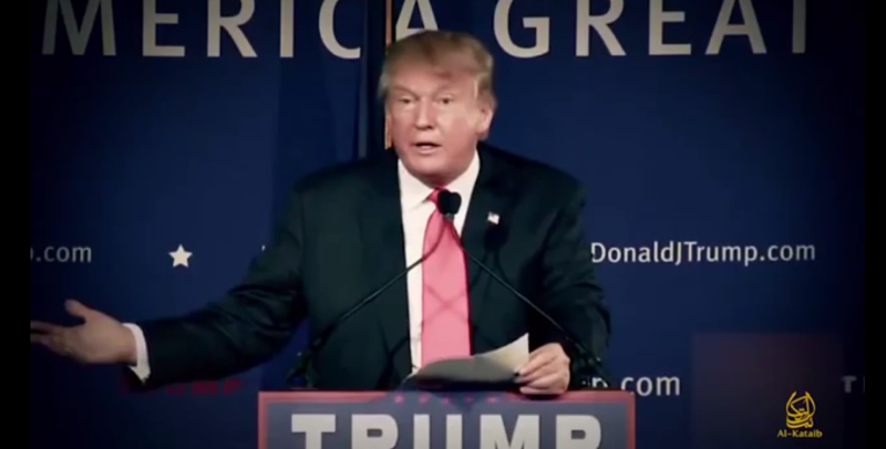 Trump shrugs off jihadist video citing his call to ban Muslims