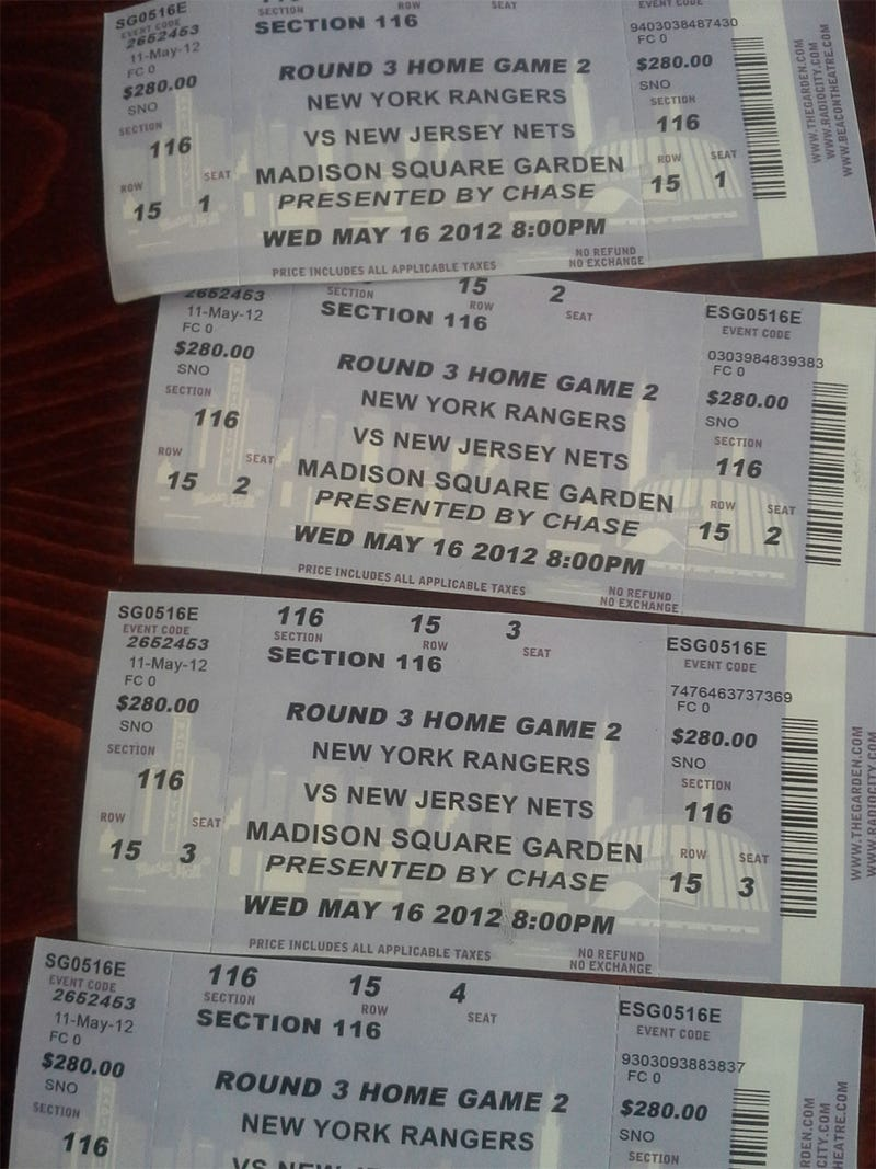 "These ""Rangers Vs. Nets"" Tickets For Tonight Look Legit"