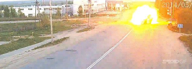 Incredibly enough, nobody died in this fiery car crash explosion