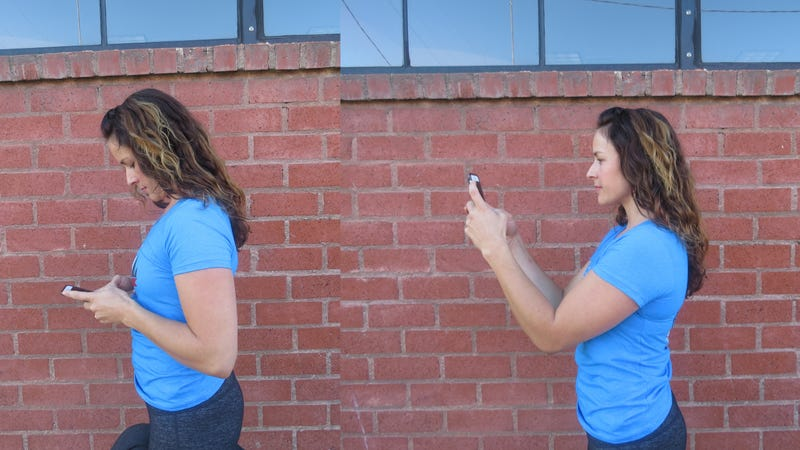 Posture for using a cellphone