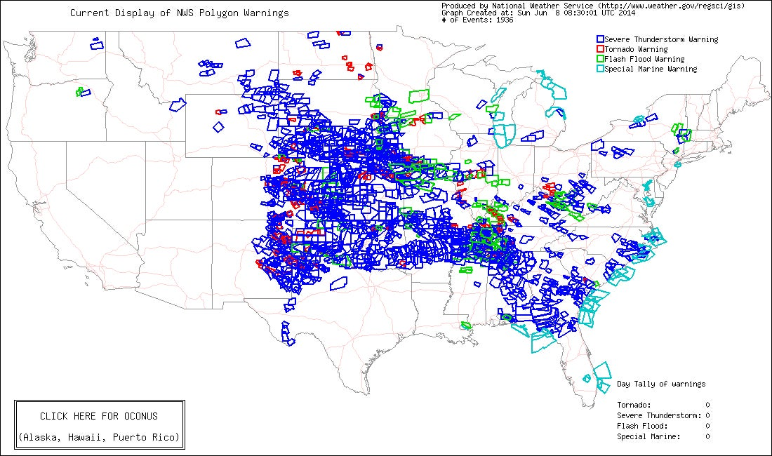 More Than 2,000 Severe Weather Warnings Issued in the Past Week