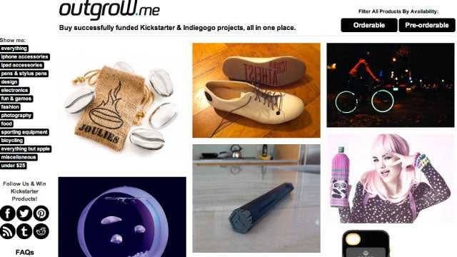 Outgrow.me Shows You The Best Kickstarter and Indiegogo Projects You Can Buy Now