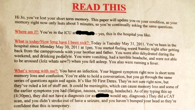 Pal's Hilarious 'Cheat Sheet' for Buddy with Severe Short-Term Memory Loss a Great Reminder That Good Friends Are Hard to Find