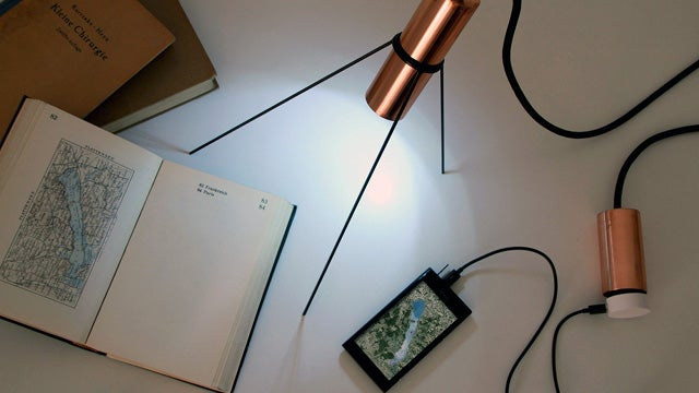 Lovely Copper LED Lamp Comes with Its Own Personal Power Outlet